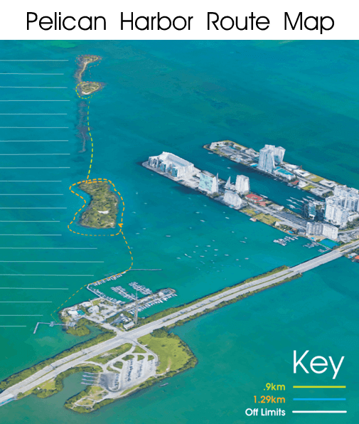 Pelican Harbor Miami Route Map - Kayak and SUP Route - iPaddle Miami